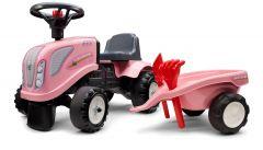 Rosa New-Holland Lauftraktor mit Anhänger und Werkzeuge